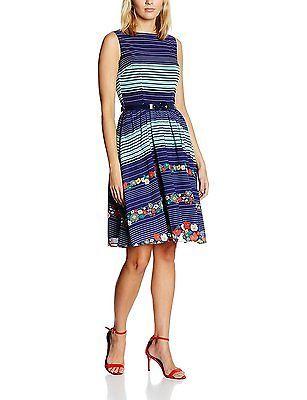 18, Blue, Lindy Bop Women's Audrey Blue Floral Stripe Dress NEW