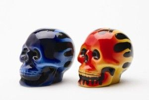 Skull Salt And Pepper Shakers: Flame Skulls
