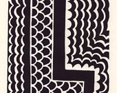 L is for the letter L. Linocut