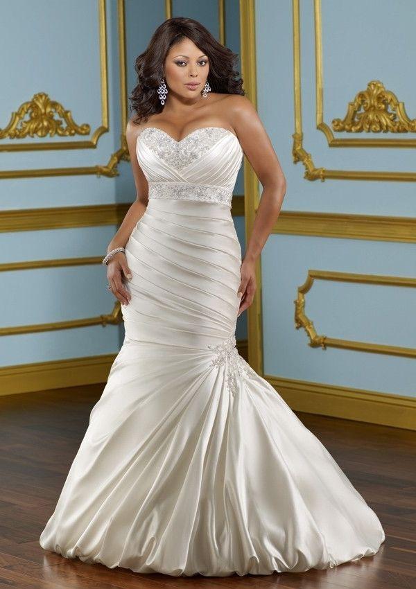 Sweetheart Court Train Mermaid Satin Wedding Dress(WD0636)