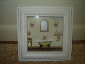Claw Foot Old Fashioned Bath Tub Bathroom Framed Wall Art Decor
