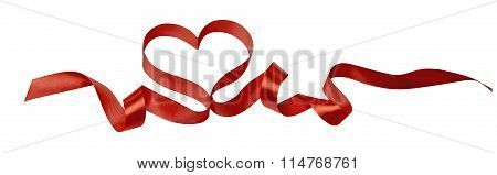 Heart Ribbon Valentine Design Image Horizontal Isolated