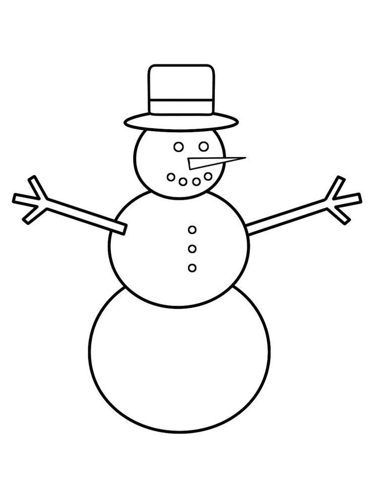 Snowman Coloring Page For Preschool | Snowman coloring ...