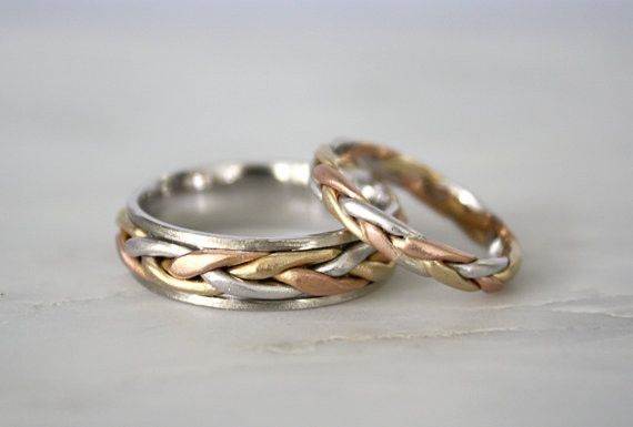 SET - Matching Tri Color Braided Wedding Bands in 14K Solid Gold