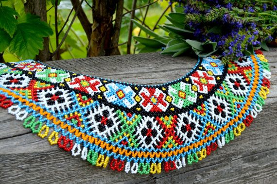Traditional Ukrainian Folk Beaded NECKLACE by NakaHandMadeShop