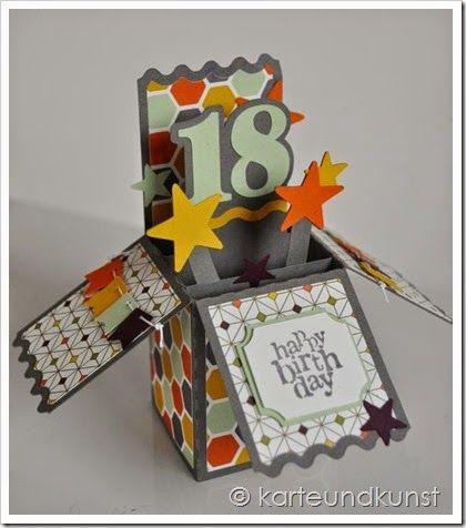 Boxcard zum 18.Geburtstag http://karteundkunst.blogspot.de/2014/10/jede-menge-gluck.html