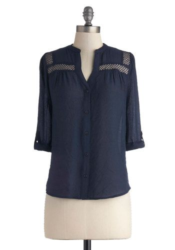 Treat the Parents Top in Navy - Blue, Solid, Buttons, Mid-length, Casual, 3/4 Sleeve, Sheer, Blue, Tab Sleeve