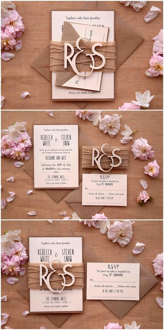 Easy And Affordable Diy Wedding Invitation Wedding Invitations Kraft Di Rustic Wedding Invitation Set Creative Wedding Invitations Wedding Invitation Sets