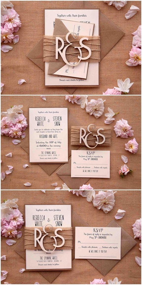 Wood Monogram Wedding Invitation Custom Wedding Invitation Monogram Rustic Weddi Monogram Wedding Invitations Wood Wedding Invitations Rustic Invitations Diy