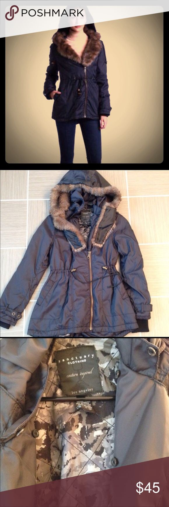 Sanctuary navy parka with removable faux fur Sanctuary navy parka with removable fur hood , lined and size xs (runs a little big would fit small as well). Worn a couple times in great condition. Sanctuary Jackets & Coats