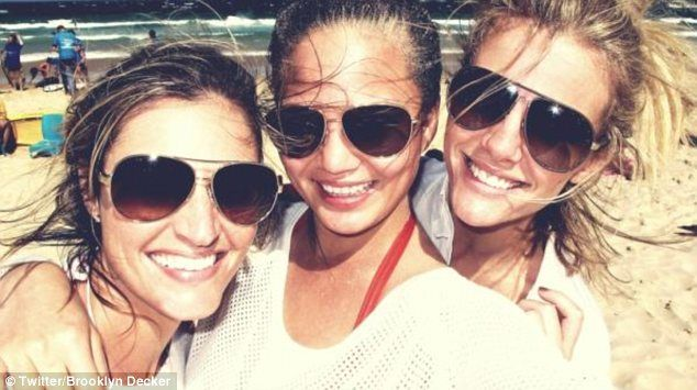 Girly day out: Brooklyn Decker tweeted a photo of herself with Erin Andrews and Chrissy Teigen at Bondi Beach