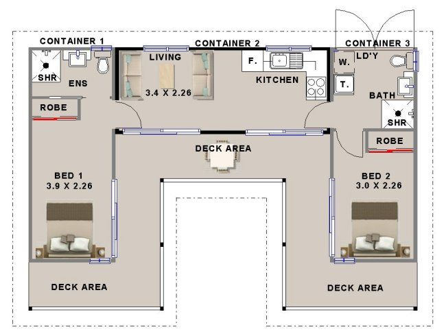 Nice Shipping Container House Floorplan Using 3 Containers With 2 Bedrooms