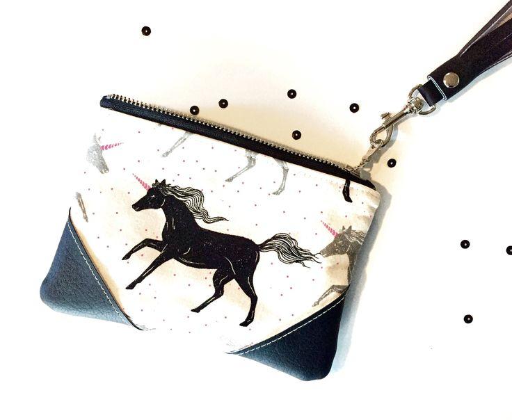 Unicorn Bag, Unicorn Clutch, Black Unicorn, Coin Purse, Coin Pouch, Cotton & Steel, Magic Forest, Small Zipper Pouch, Unicorn Gift #unicorn #unicorngifts #coinpurse #coinpouch #blackunicorn #blackandwhite #unicornlover #cottonandsteel