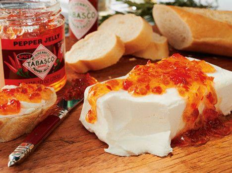 Tabasco Pepper Jelly with Kraft Philadelphia Cream Cheese http://wm13.walmart.com/Food-Entertaining/Recipes/22624