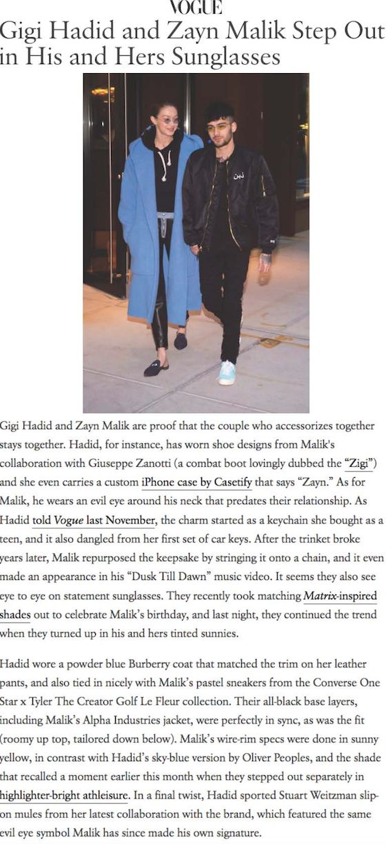 """Alpha Industries was featured in Vogue in a piece titled """"Gigi Hadid and Zayn Malik Step Out in His and Hers Sunglasses."""" Zayn is spotted wearing the Alpha Industries Merch Jacket. Tap the photo to read more."""