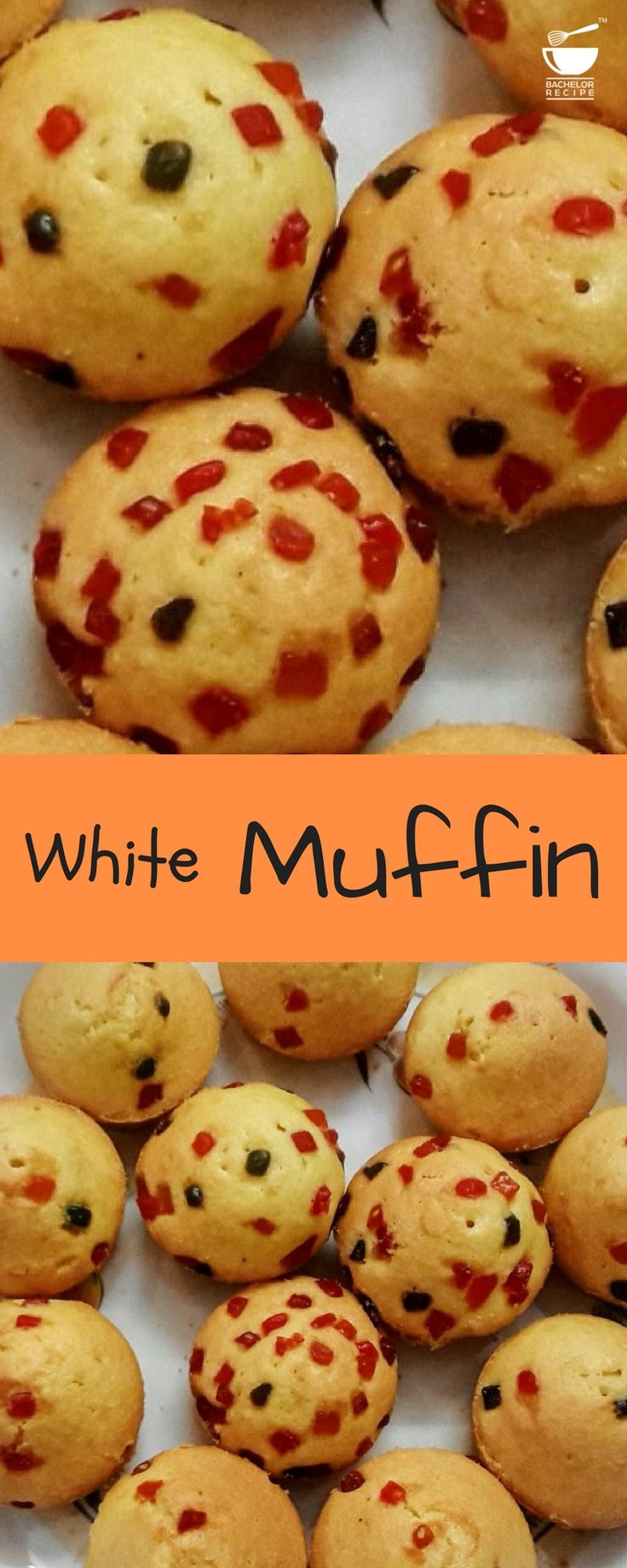 Moist, soft, easy and healthier than most other muffins, Muffin topped with tutti-frutti.