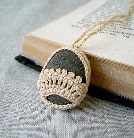 Crochet Stone Necklace - Crochet Jewelry - Lace Stone Necklace - Beach Stone Lacy Pendant - Beach Wedding Necklace via Etsy