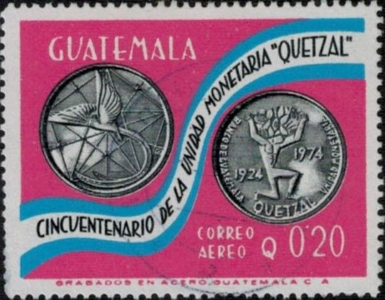 Sello: 50th anniversary of Quetzal currency (Guatemala) (50th anniversary of Quetzal currency) Mi:GT 1052,Sn:GT C611,Yt:GT PA608