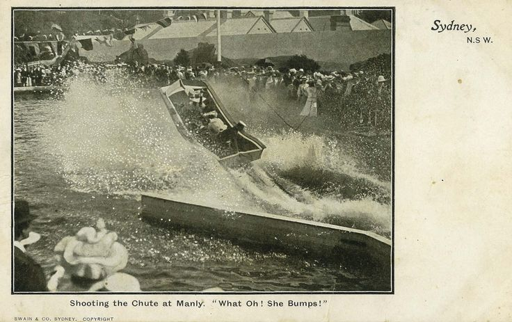 Manly Water Chute, open 1903 to mid 1906, was located at the southern end of South Steyne.  The turreted building to the left of the Chute is still to be seen, externally little changed, on the corner of South Steyne and Victoria Parade.