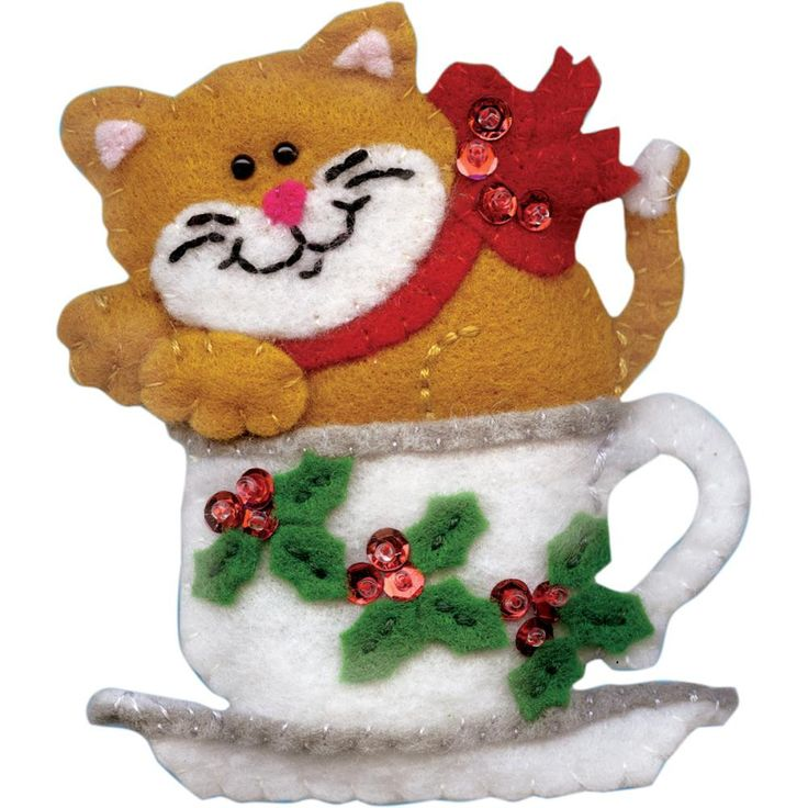 Tobin-Ornament Felt Applique Kit. These fabulously festive kits by Tobin include everything you will need to add color, warmth and fun to your next holiday season. This package contains felt, cotton f