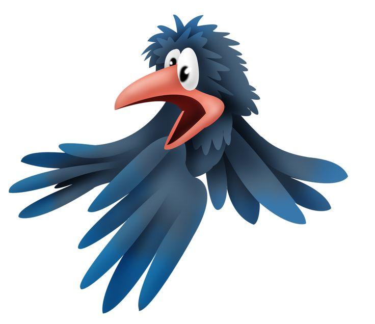 Смешная ворона рисунок детский, открытки