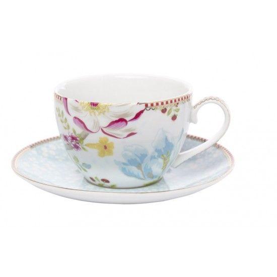 Tasse accompagnée de sa sous tasse de la collection CHINESE GARDEN de la marque PIP STUDIO. Décoration raffinée et élégante, pour un tea time so british .