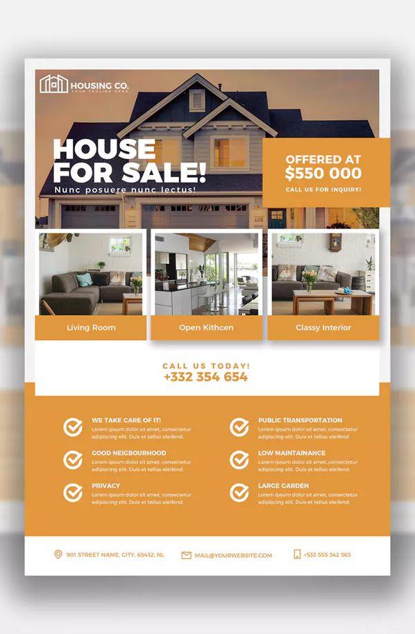 real estate flyer template psd editable text 300 dpi cmyk