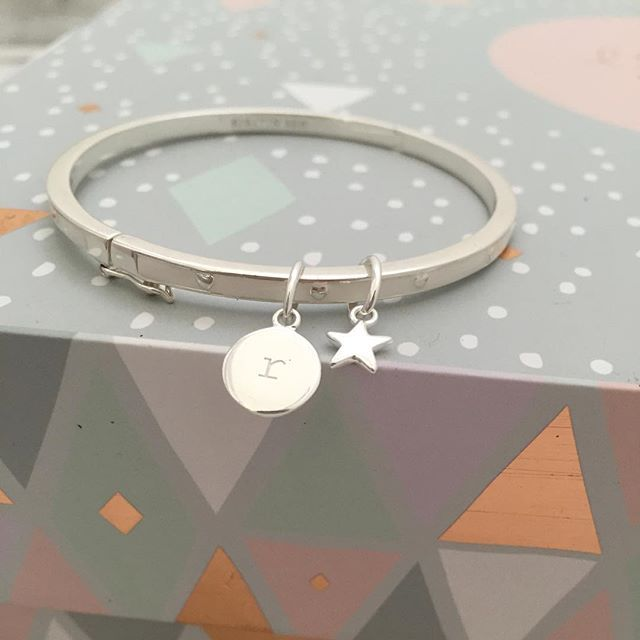 STERLING SILVER & KEEPSAKE• Our White Enamel Heart Bangle layered with Initial and Star charm. Sitting pretty on our Little KA jewellery box  xk