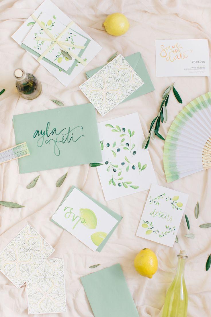 Mediterranean inspired wedding invitations - photo by M&J Photography http://ruffledblog.com/english-gardenn-wedding-with-mediterranean-accents