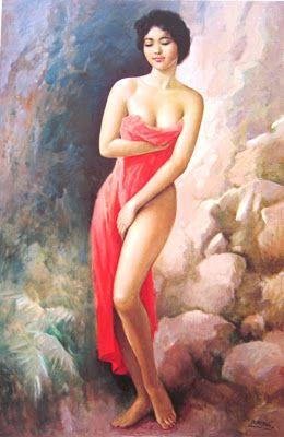 """Sepotong kain merah""  by Basuki Abdullah"