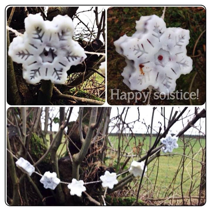 "Lardy snowflakes for the birds made in a muffin mould & filled with rose hips and hawthorn berries - from Kindling: Playwork, Training, Forest Schools and creative workshops ("",)"