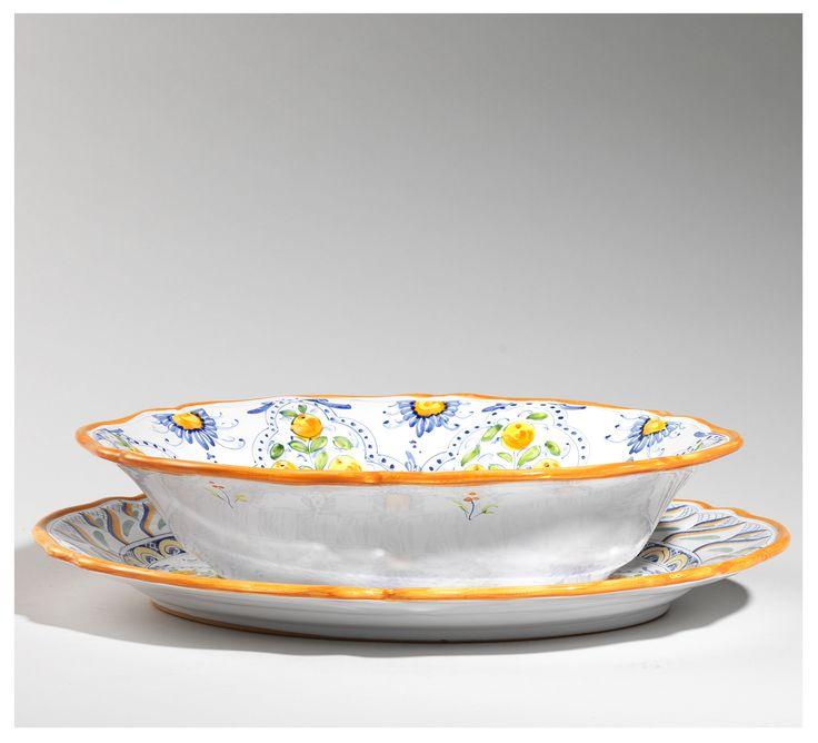 Set tavola Meline - serving set large oval bowl cm 42 and platter  www.sbigoliterrecotte.it