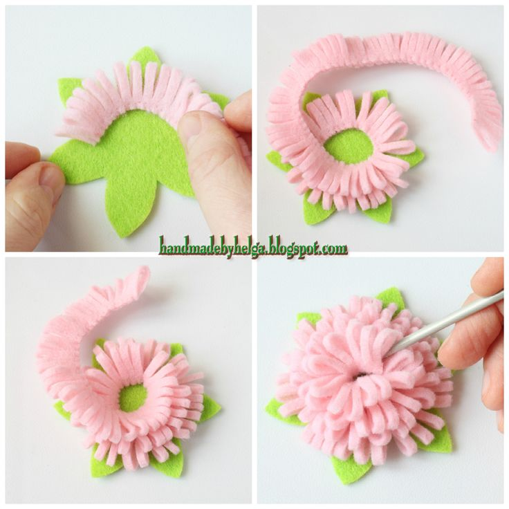 Handmade by Helga: Felt brooch in shape of a peony (tutorial)