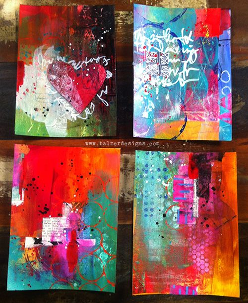 Balzer Designs - These all started the same way, and I worked on all four at the same time, with the same limited palette of supplies. Yet, they're all so different! Lots of coulds and absolutely zero shoulds!