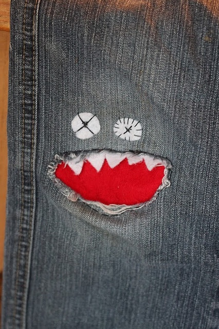 Monster Knee Patch- This would be perfect for my monster that cannot keep knees in his pants for the life of him!