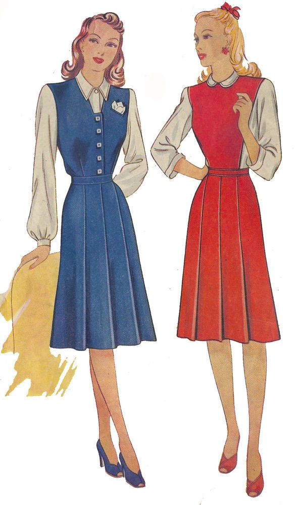 "1940's Vintage Sewing Pattern Misses' Pinafore Dress Wartime WWII B34"" #EconomyDesign"