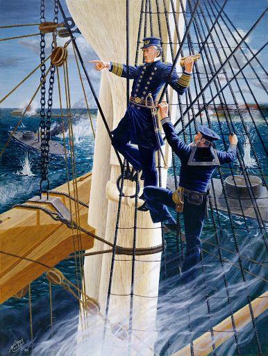 """Damn the torpedoes! Full steam ahead! He aquí un cuadro de la hazaña del almirante Farragut, de ascendencia española, su padre era de Menorca, para más señas, y combatió en la Guerra de Independencia americana. El 5 de agosto de 1864 Farragut ganó una gran victoria en la batalla de la Bahía de Mobile. Mobile era entones el último gran puerto de la Confederación en el Golfo de México. La bahía tenía un denso campo de minas (las minas de orinque eran conocidas como """"torpedos"""" en aquel tiempo)…"""