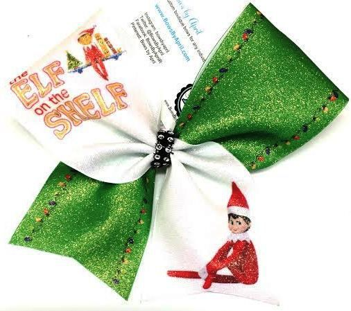 Bows by April - ELF On The Shelf Christmas Cheer Bow, $15.00 (http://www.bowsbyapril.com/elf-on-the-shelf-christmas-cheer-bow/)
