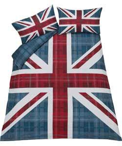 Check Union Jack Multicoloured Bedding Set - Double.