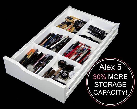 6 Divider Drawer Organizer (Fits Alex 5 Drawer Unit) - Makeup Organizer - Makeup Drawer Insert - Makeup Storage - Cosmetic Storage