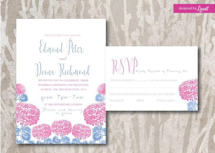 Floral Wedding Invitation-Digital wedding invitation-Printable wedding invitation set-Custom wedding invitation-vintage hydrangea  by Linvit on Etsy