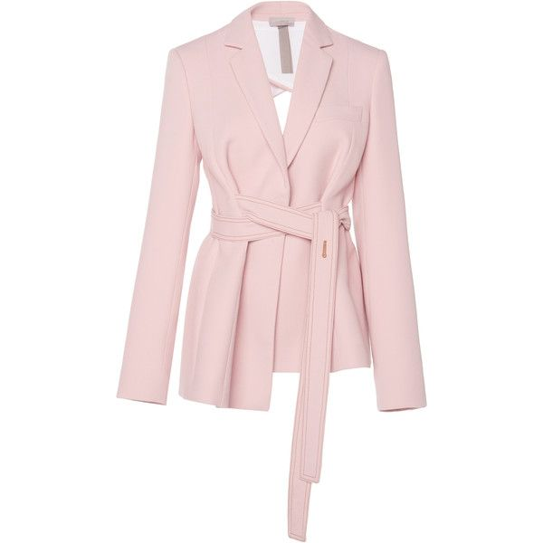 Open Back Blazer | Moda Operandi (36.998.965 VND) ❤ liked on Polyvore featuring outerwear, jackets, blazers, open back blazer, wrap blazer, pink jacket, blazer jacket and wrap jacket