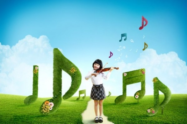 Cute Girls Psd Layered Violin » Backgrounds PSD | King Of PSD