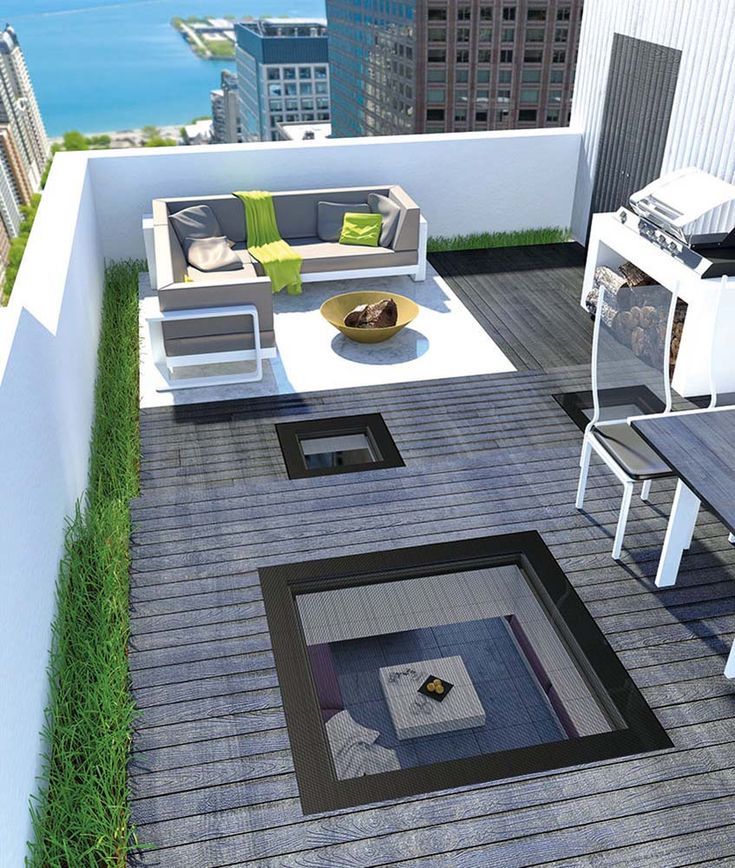 Fenêtre plate pour toit-terrasse Small apartments, Attic and Lofts - toiture terrasse bois accessible