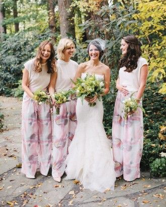 Bridesmaids looked chic in Anthropologie tops and silk Alice + Olivia pants at Chelsa and Dennis' October nuptials in upstate New York.