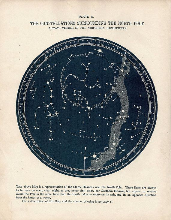 A UNITQUE AND ORIGINAL OLD ANTIQUE NORTH POLE CONSTELLATIONS STAR MAP printed 1887 - 129 Years Old -Map A This unique map features lovely