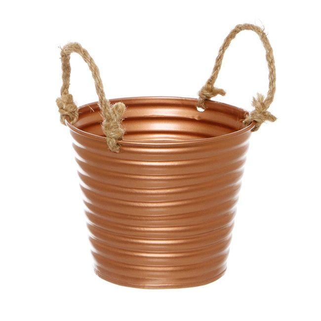 Rustic Tin Metal Bucket Rope Handles Copper (13Dx11cmH)