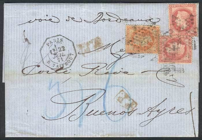 "France, 22/JUL/1871 PARIS - ARGENTINA: complete folded letter franked by Yv.31 + 32 x2, semi-mute ""dotted star"" cancel, ""P.P."" in red, and octagonal ""PARIS - R.TALTBOUT"" datestamp, excellent quality! Starting Price (11/2016): 157 EUR."