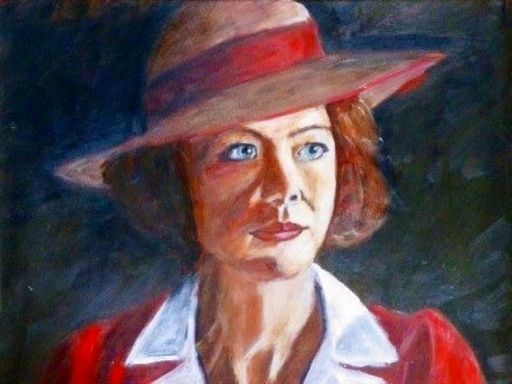 "Beautiful role in TV series ""South Riding"": Anna Maxwell Martin, UK, acrylic on paper"