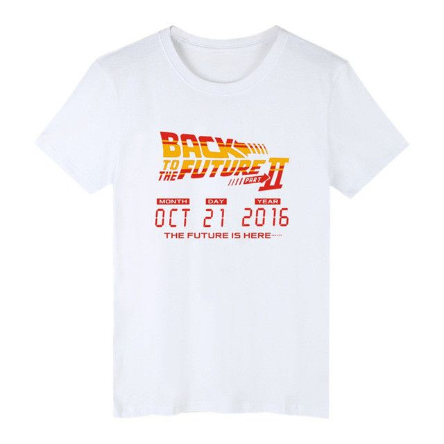 Back to the future t shirt Funny O-neck Men Summer Letter Film XXL T Shirts homem Plus Size 2017